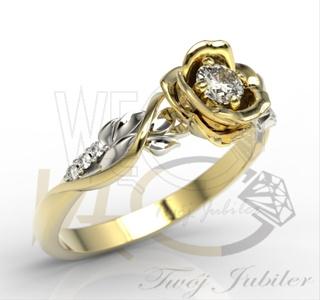 Złoty pierścionek w kształcie róży z brylantami LP-77ZB, 0,15 ct H/Si