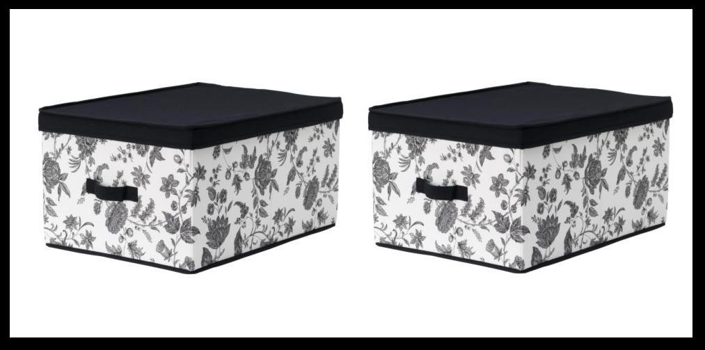 IKEA - pudełka z pokrywką - biało-czarne kwiaty - 3-4 sztuki