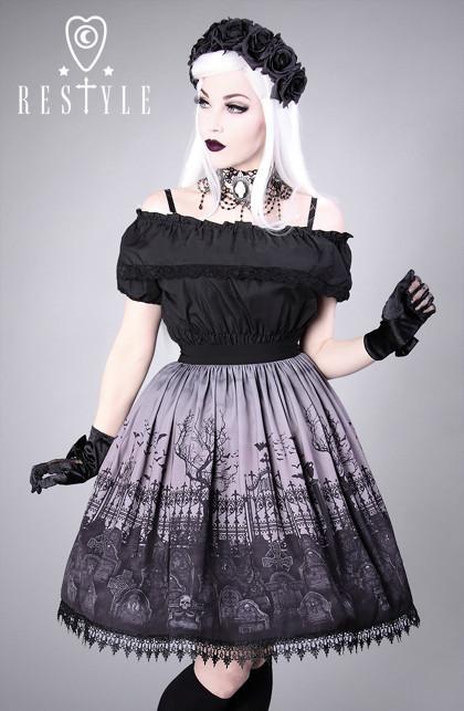 Gotycka spódniczka z nadrukiem