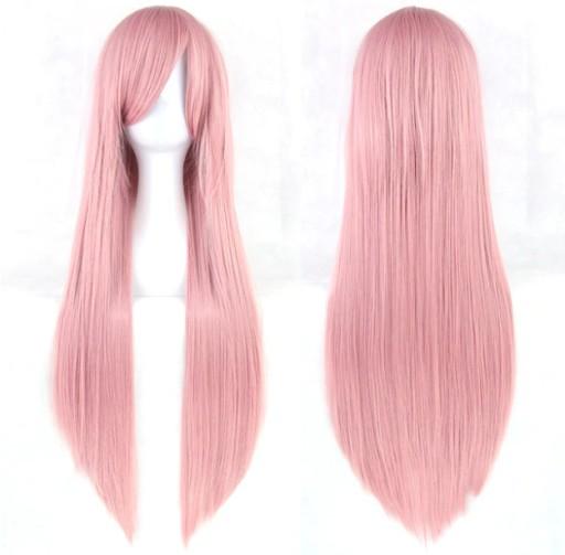 Peruka 80 cm różowa COSPLAY