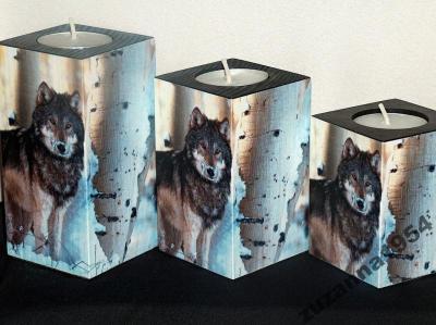 Świecznik z wilkiem