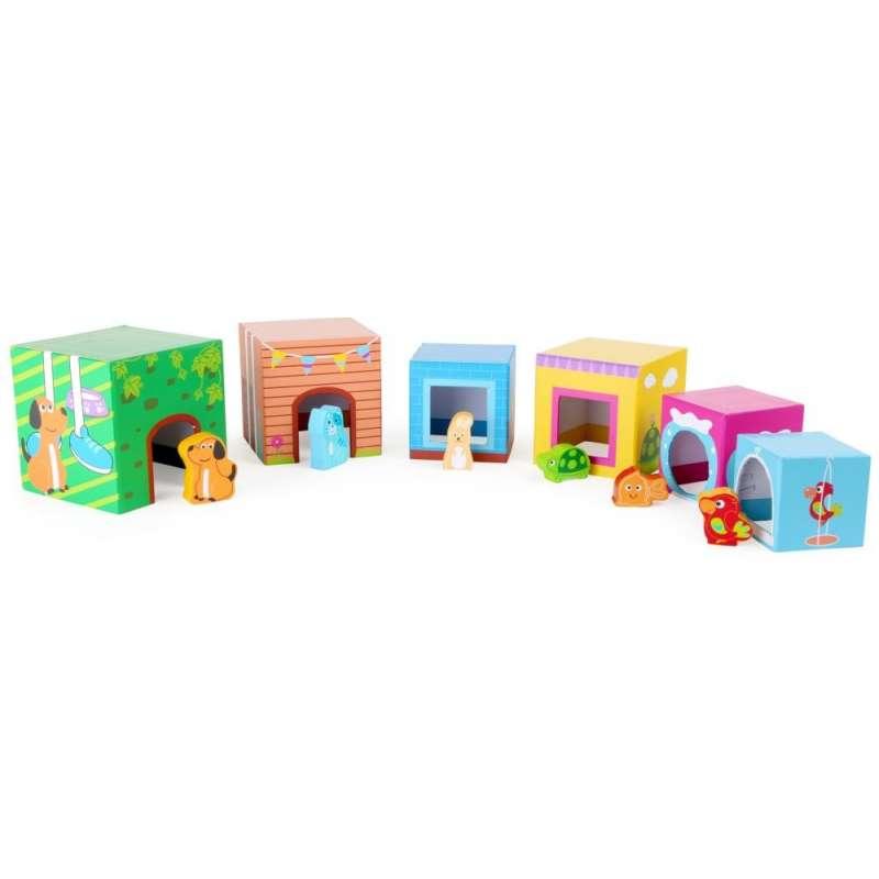 Wieża z klocków z figurkami - zwierzęta Small Foot
