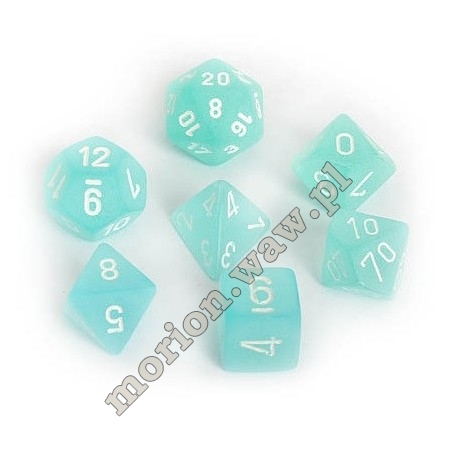 kości chessex frosted teal/white