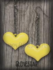 kolczyki serca żółte