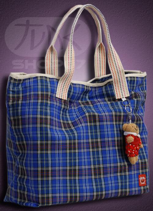Granatowa torebka w kratę ;)