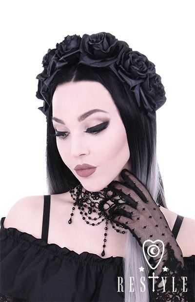 Opaska z czarnymi różami
