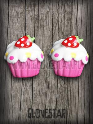 kolczyki cupcakes hot pink