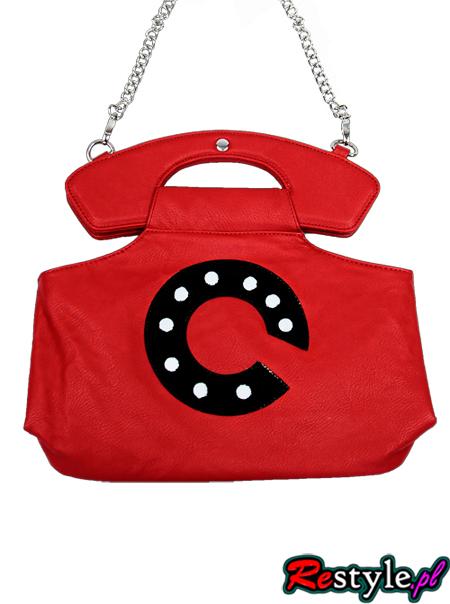 Czerwona torebka telefon na łańcuszku