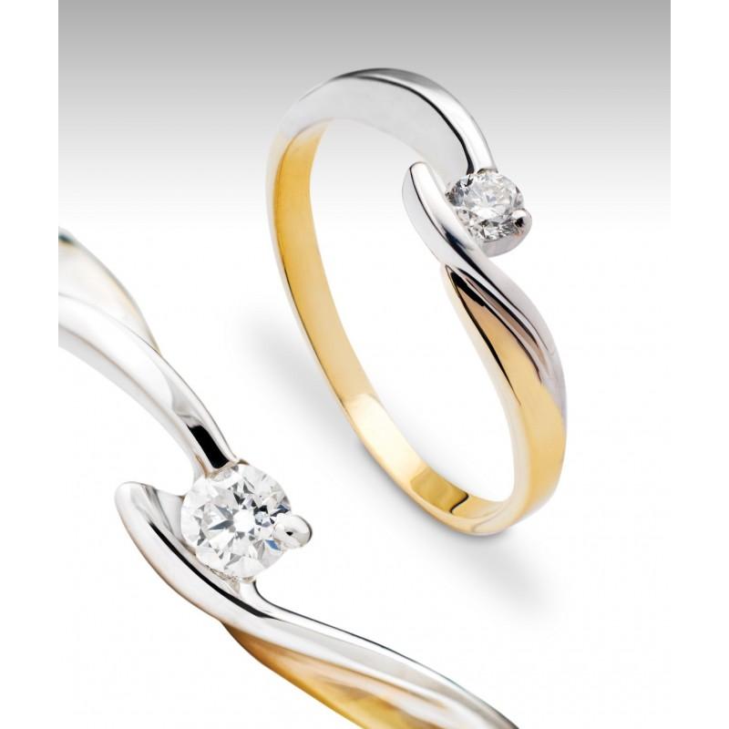 Pierścionek, dwa kolory złota - Impressimo