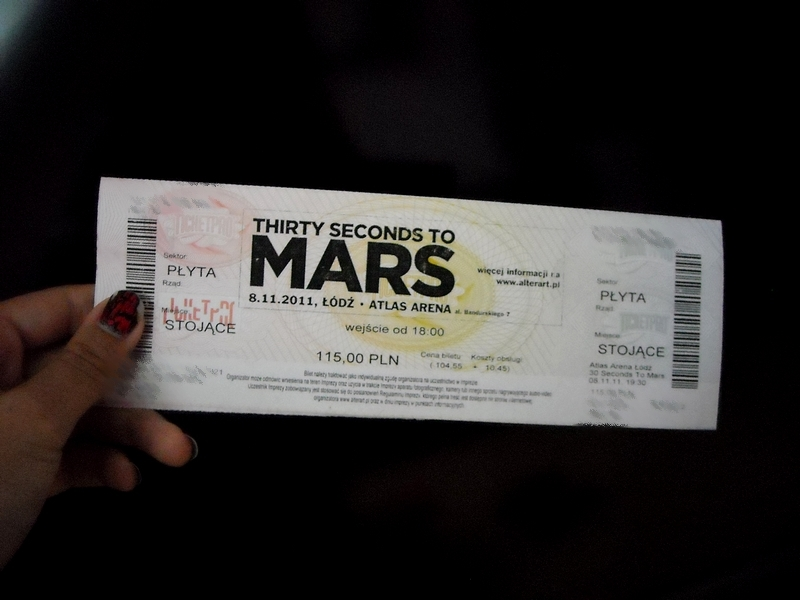 Bilet na koncert 30 Seconds to Mars Łódź 8.11.11