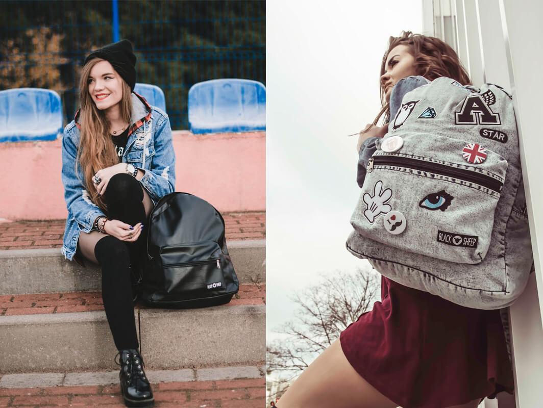 Uroczy plecak z naszywkami dla nastolatki
