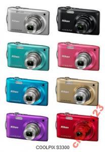 NIKON COOLPIX S3300 4 KOLORY 16Mpix+SDHC 8GB W-WA