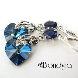 Kolczyki z sercami (niebieskie)