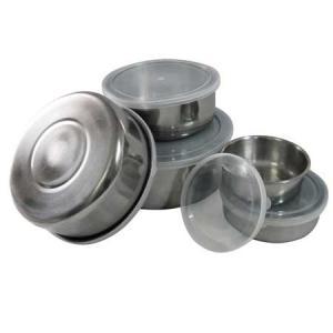 Pojemniki na żywność z pokrywkami 5szt. stalowe