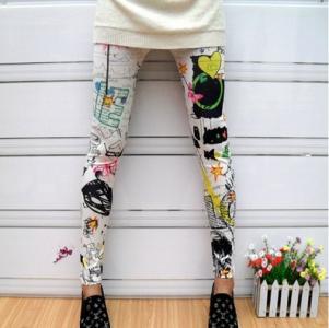 LEGGINSY spodnie rurki leginsy GRAFFITI kolorowe