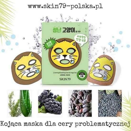 SKIN79 Animal Mask - For Angry Cat; kojąca maska dla cery problematycznej