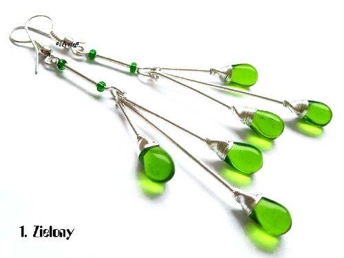 Kolczyki kaskada zielone