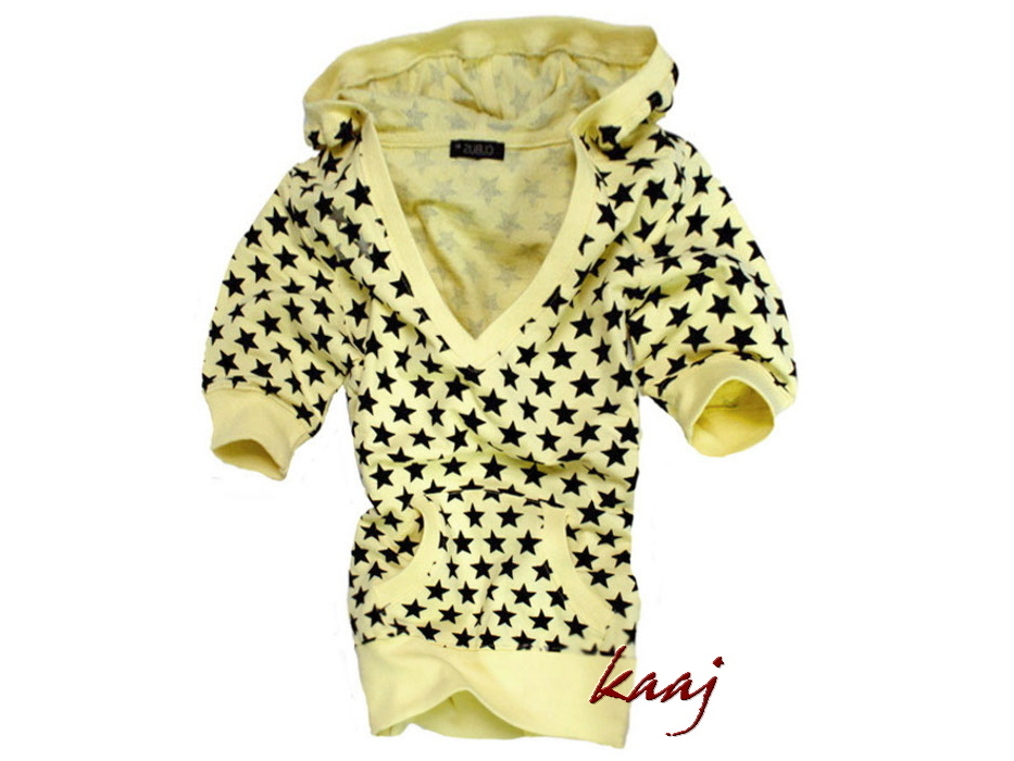 zółta bluzka z czarnymi gawiazdkami