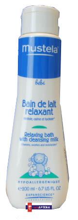 MUSTELA Bebe: Płyn do kąpieli - Relaksacyjna kąpiel z mleczkiem oczyszczającym 200 ml