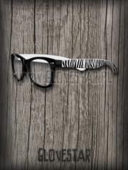 okulary NERD zebra białe