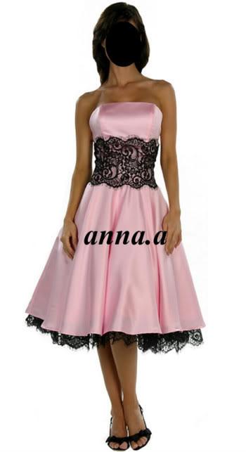 różowo-czarna sukienka