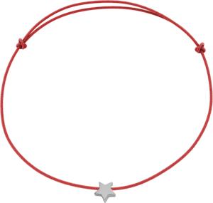 Bransoletka LILOU ze srebrną gwiazdką na cienkim czerwonym sznurku