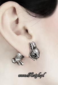 fake plugi KRÓLIKI przeskakujące przez ucho para kolczyków