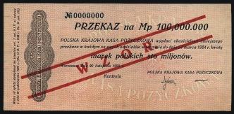 100 mln marek polskich 20.XI.1923