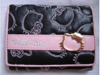 portfel z hello kitty czarny z rożowym paskiem