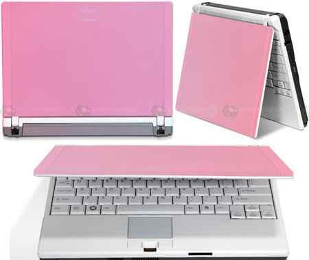 Różowy laptop