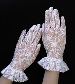 Białe retro rękawiczki koronkowe ślubne