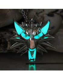 Unisex Silver Glowing Blue Wolf Pendan