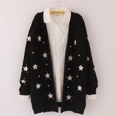 Fashion cute star knit sweater coat