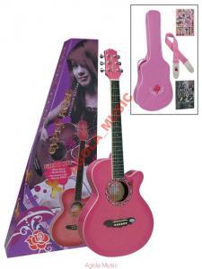 Gypsy Rose GRA-1KCPK Gitara Akustyczna  Różowa 7/8
