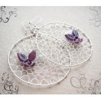 Kolczyki z fioletowym motylkiem