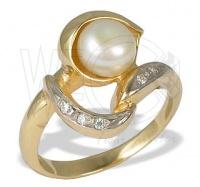 Pirścionek z perłą i brylantami