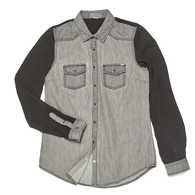 dżinsowa szara koszula z czarnymi rękawamo