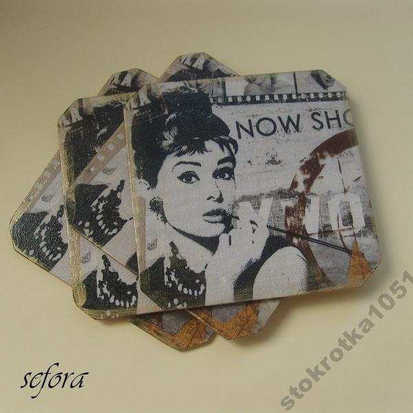 Podstawki podkładki DECOUPAGE Audrey Hepburn