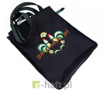 Filcowa torebka z haftem łowickim KOGUTKI T2051
