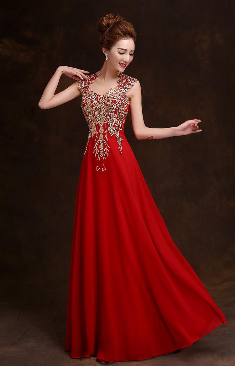 Długa Wieczorowa Suknia Złoty Haft Ślub Wesele Bal