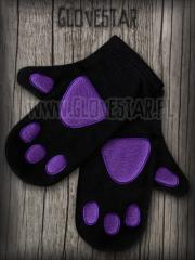 rękawiczki KOCIE ŁAPKI czarne + fiolet