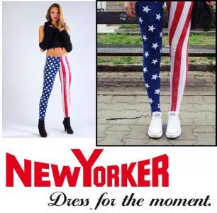 ORYGINAŁ SPODNIE FLAGA USA LEGGINSY NEW YORKER XS