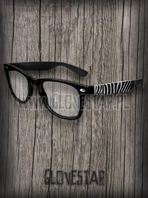 okulary nerd czarne w zebrę