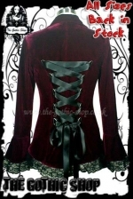 Velvet Fitted BURGUNDY-RED Victorian Gothic Jacket