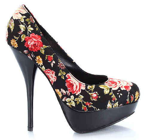 Buty Nicole-2 Floral Black Multi Pump