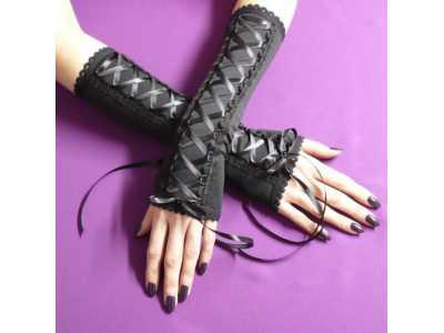 Rękawki gotyckie, gorsetowe czarne