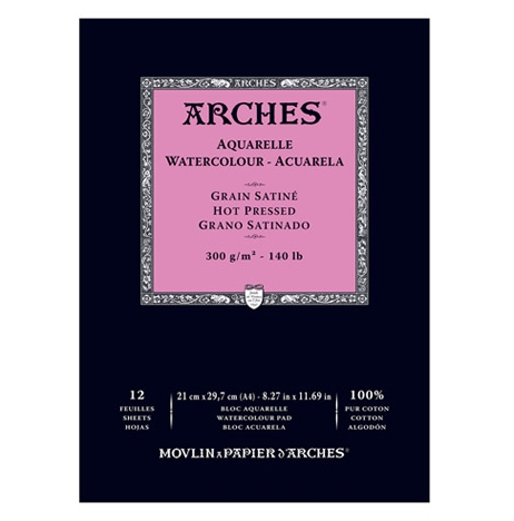 BLOK AKWARELOWY ARCHES HOT PRESS NATURAL WHITE 300 GSM A4 12 ARK. 1795096