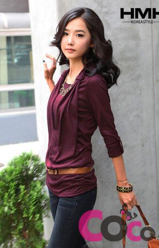 Purpurowa Bawełniana Kobieca Bluzeczka