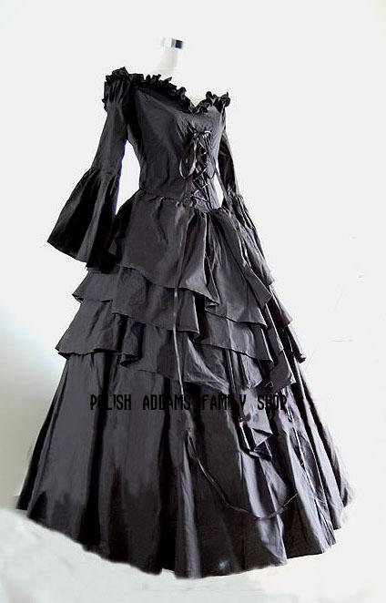 Czarna, gotycka, wiktoriańska suknia