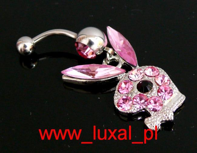 Koczyk Piercing z Króliczkiem Playboy różowy